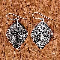 Sterling silver filigree dangle earrings, 'Sleeping Butterflies' - Sterling Silver Thai Filigree Spiral Dangle Earrings