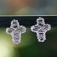 Sterling silver stud earrings, 'Cross Wrap' - Sterling Silver Wrap Cross Stud Earrings Crafted in Thailand