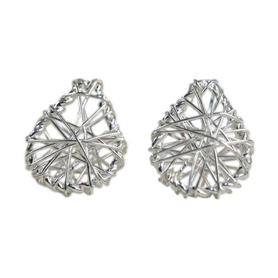 Sterling Silver Wrap Teardrop Stud Earrings from Thailand