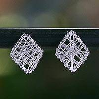 Sterling silver stud earrings, 'Rhombus Wrap' - Wrapped Sterling Silver Stud Earrings Crafted in Thailand