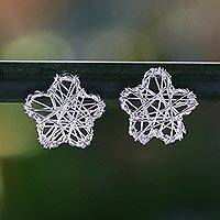 Sterling silver stud earrings, 'Flower Wrap' - Sterling Silver Flower Stud Earrings Crafted in Thailand