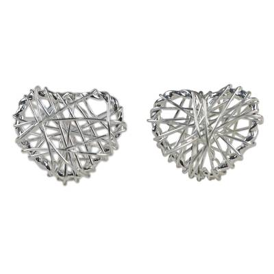 Sterling Silver Wrapped Heart Earrings Crafted in Thailand