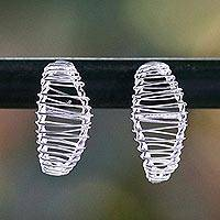 Sterling silver drop earrings, 'Leaf Wrap' - Sterling Silver Wrap Leaf Drop Earrings Crafted in Thailand
