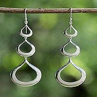 Sterling silver dangle earrings, 'Sweet Honey Drops ' - Sterling Silver Statement Earrings Handcrafted in Thailand