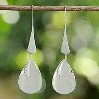 Sterling silver dangle earrings, 'Raindrop Dreams' - Sterling Silver Thai Modern Drop Shaped Dangle Earrings