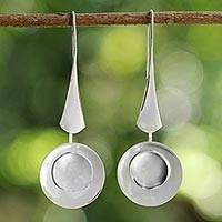Sterling silver dangle earrings, 'Rainy Moon' - Thai High Polish Sterling Silver Modern Dangle Earrings