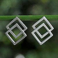 Sterling silver button earrings, 'Forever Square' - Thai Sterling Silver Square Geometric Button Earrings