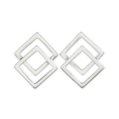 Handmade Thai Sterling Silver Square Button Earrings