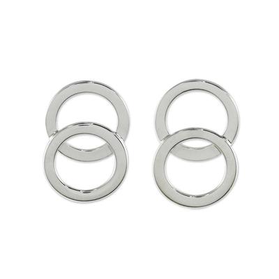 Thai Sterling Silver Geometric Circle Modern Button Earrings