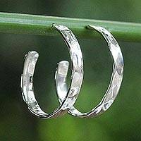 Sterling silver half-hoop earrings, 'Contemporary Woman' - Modern Thai 925 Sterling Silver Half-Hoop Earrings