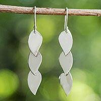 Sterling silver dangle earrings, 'Romantic Leaves' - Sterling Silver Leaf Shaped Dangle Earrings from Thailand