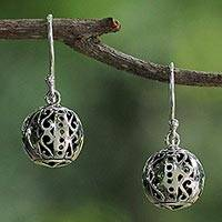 Sterling silver dangle earrings, 'Palace Lanterns' - Petite Sterling Silver Bauble Earrings from Thailand