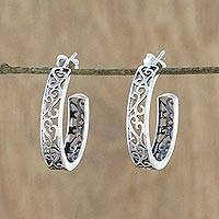 Sterling silver half-hoop earrings, 'Spiral Balustrade' - Elegant 925 Sterling Silver Half-Hoop Earrings from Thailand