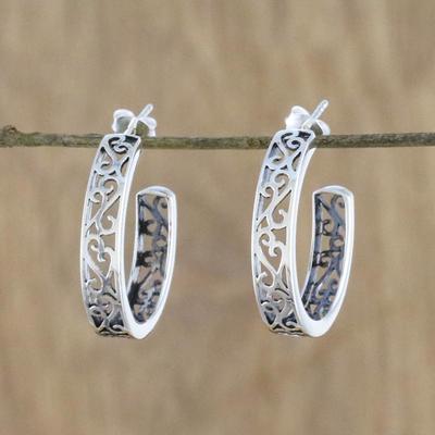 94480948a Sterling silver half-hoop earrings, 'Spiral Balustrade' - Elegant 925  Sterling Silver