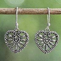 Sterling silver dangle earrings, 'Heart Blooms' - Heart Shaped Sterling Silver Dangle Earrings from Thailand
