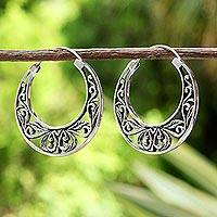 Sterling silver hoop earrings, 'Leafy Spring' - Sterling Silver Leaf Motif Hoop Earrings from Thailand