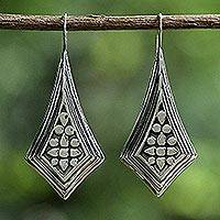 Sterling silver drop earrings, 'Vogue Chiang Mai' - Sterling Silver Diamond Shaped Drop Earrings from Thailand