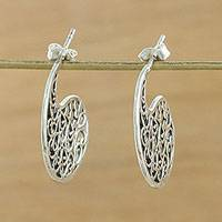 Sterling silver drop earrings, 'Fancy Paisleys' - Thai Handmade Sterling Silver Ornate Drop Earrings