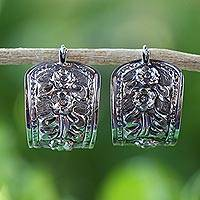 Sterling silver hoop earrings, 'Hanging Jasmine' - 925 Sterling Silver Floral Hoop Earrings from Thailand
