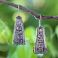 Sterling silver drop earrings, 'Hanging Jasmine' - 925 Sterling Silver Floral Drop Earrings from Thailand