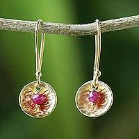 Gold plated ruby dangle earrings, 'Cerise Harvest Moon' - Artisan-made 24k Gold Plated Ruby Dangle Earrings Thailand