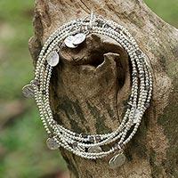 Labradorite wrap bracelet, 'Rain Charms' - Sterling Silver Plated Labradorite Bracelet from Thailand