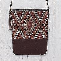 Leather accent cotton shoulder bag, 'Northern Thai Charm'