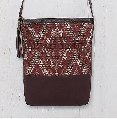 Leather accent cotton shoulder bag, 'Northern Thai Charm' - Thai Handwoven Cotton Shoulder Bag with Leather Accents