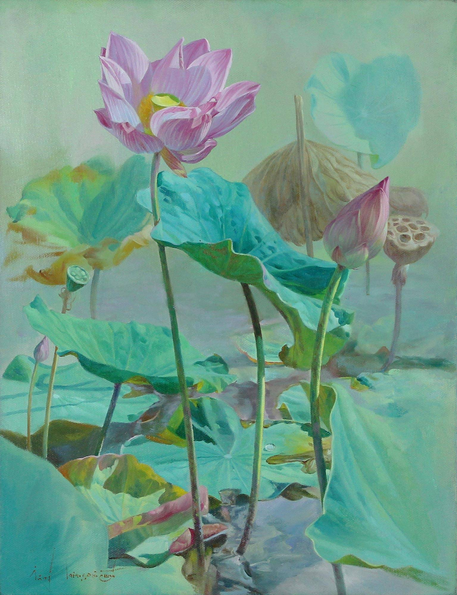 Signed Realist Painting Of Lotus Flowers From Thailand Lotus And