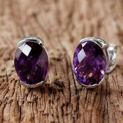 Amethyst stud earrings, 'Precious Plum' - Amethyst and Sterling Silver Stud Earrings from Thailand