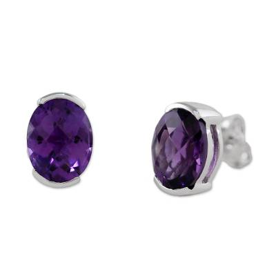 Amethyst and Sterling Silver Stud Earrings from Thailand