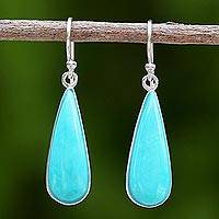 Sterling silver dangle earrings, 'Sky Blue Rain' - Sterling Silver and Reconstituted Turquoise Dangle Earrings