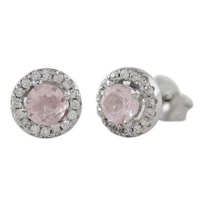 Rhodium Plated Rose Quartz and Cubic Zirconia Stud Earrings