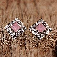 Rhodium plated rose quartz button earrings, 'Pink Squares' - Rhodium Plated Rose Quartz Button Earrings from Thailand