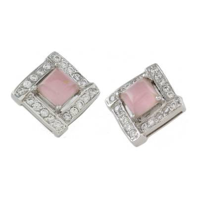Rhodium Plated Rose Quartz Button Earrings from Thailand