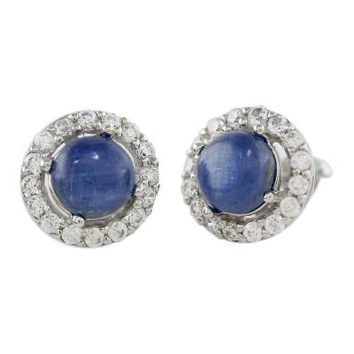 Rhodium Plated Kyanite and Cubic Zirconia Button Earrings