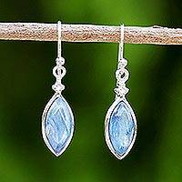 Rhodium plated kyanite dangle earrings, 'Knowing Eyes' - Rhodium Plated Kyanite and Sterling Silver Dangle Earrings