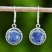 Kyanite dangle earrings, 'Pointed Petals' - Kyanite and Sterling Silver Dangle Earrings from Thailand