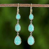 Gold plated amazonite dangle earrings, 'Nectar Drops' - Gold Plated Amazonite Teardrop Dangle Earrings from Thailand