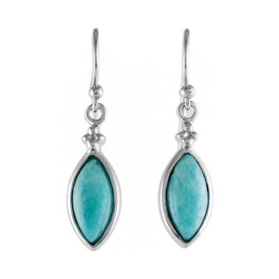 Rhodium Plated Amazonite Dangle Earrings from Thailand