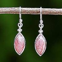 Rhodium plated rhodochrosite dangle earrings, 'Knowing Eyes' - Rhodium Plated Rhodochrosite Dangle Earrings from Thailand