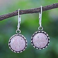 Rhodonite dangle earrings, 'Pointed Petals' - Rhodonite and Sterling Silver Dangle Earrings from Thailand