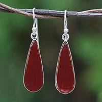 Rhodium plated carnelian dangle earrings, 'Morning Raindrops' - Rhodium Plated Thai Carnelian Droplet Dangle Earrings
