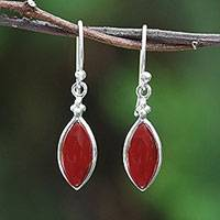 Rhodium plated carnelian dangle earrings, 'Knowing Eyes' - Rhodium Plated Carnelian Dangle Earrings from Thailand