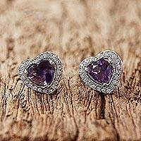Rhodium plated amethyst stud earrings, 'Lavender Hearts' - Rhodium Plated Amethyst Heart Shaped Stud Earrings