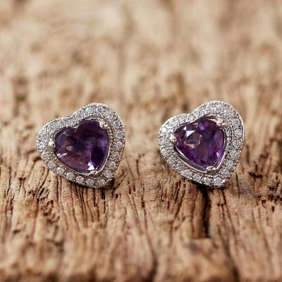 Rhodium Plated Amethyst Stud Earrings Lavender Hearts Heart Shaped