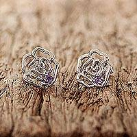 Amethyst stud earrings, 'Dewy Rose' - Rhodium Plated Amethyst Floral Stud Earrings from Thailand