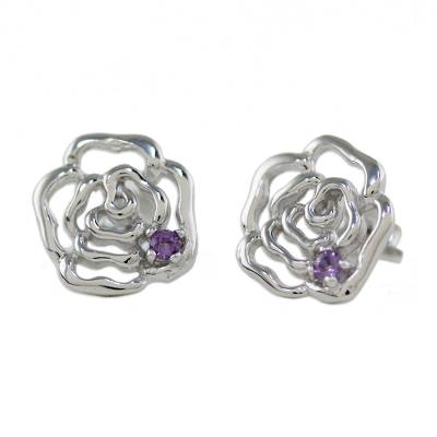 Rhodium Plated Amethyst Floral Stud Earrings from Thailand