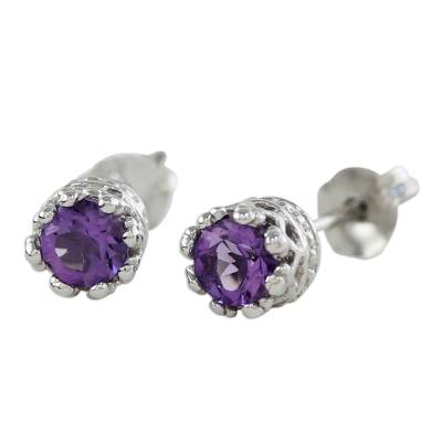 Rhodium Plated Amethyst Stud Earrings from Thailand