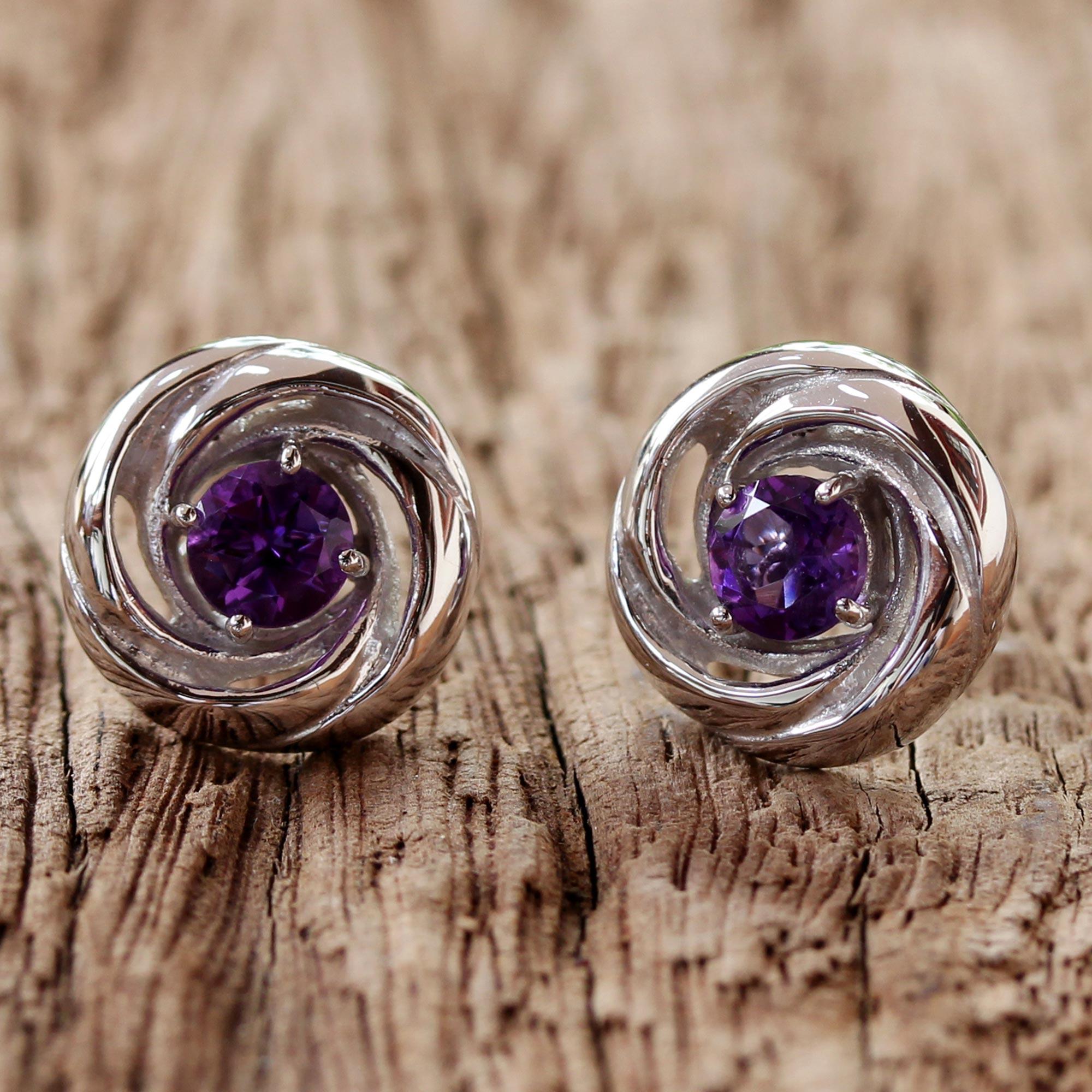 Novica Rhodium plated amethyst stud earrings, Dewy Rose